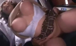 Busty cute japanese schoolgirl groped increased by squirting on high a bus.
