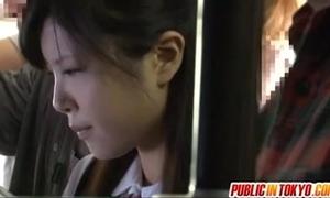 Japanese legal age teenager having carnal knowledge at hand nurture