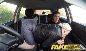 Deport oneself driving tutor fat breast prudish fur pie student has creampie and squirts
