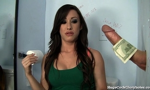 Hot chick blows cock thumb glory hole!
