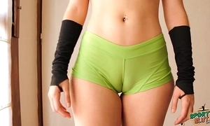 Fume in the final legal age teenager working out! cameltoe, big ass, perky tits!