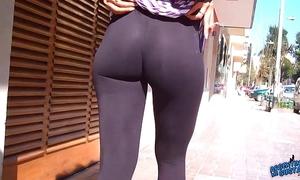 Wow! surprising surrounding booty on dramatize expunge streets! flashin chubby teats