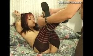 Crazy alt emo midget woman sucks mad dick