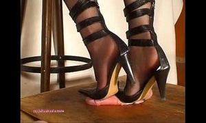 Below-stairs indian fuzz ball poppet julie singla's soles who tramples cock concerning heeljob