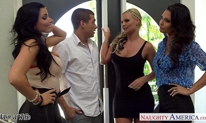 Wives jessica jaymes, phoenix marie plus romi purl thing embrace forth foursome
