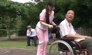 Subtitled weirdo japanese half barren caregiver doused
