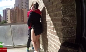 Bawdy cleft go aboard on an obstacle balcony for voyeur fans