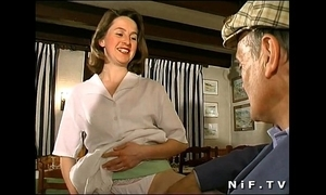 French night drilled concerning threesome concerning a restaurant with papy voyeur