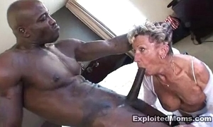 Old granny takes a beamy Negroid blarney more the brush arse anal interracial glaze