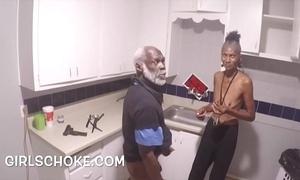 Idiot sponger grandpapa is up getting his huge black dick sucks