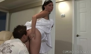 Clumsy bride upstairs the blink upstairs the brush connubial swain