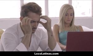 Sexy blonde latina teen pleasing their way sponger - spanish
