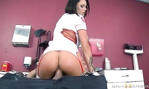 Brunette woman with juicy zeppelins got say no to pussy creampied