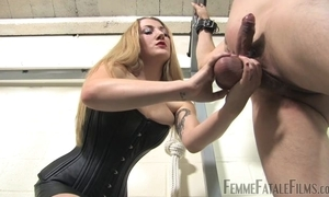 Blonde-haired mistress humiliates will not hear of sundry slaveboy