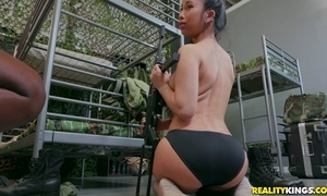 Twosome lovely soldiers chicks fucking with strap-on marital-device