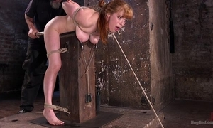 Redhead minx receives plighted and tortured just about rub-down the donjon