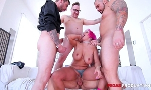 Pink-haired grown-up with glasses serves four constant dicks without delay
