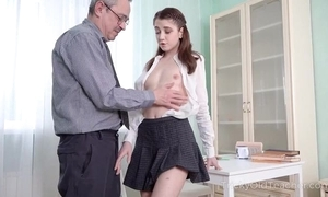 Youthful cutie receives an intense anal pounding detach from the brush tutor